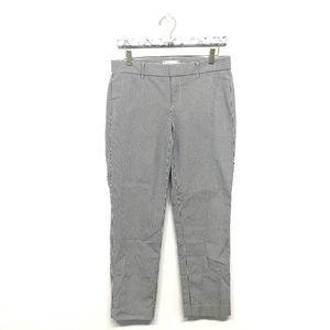 Gap 2 Cropped Pants Blue White Pinstripe